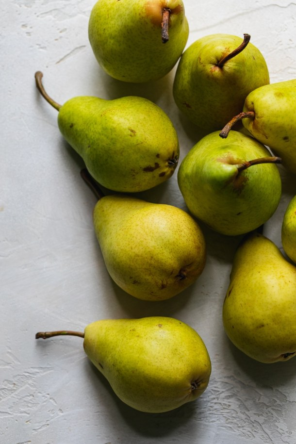 Overhead close up shot of green pears