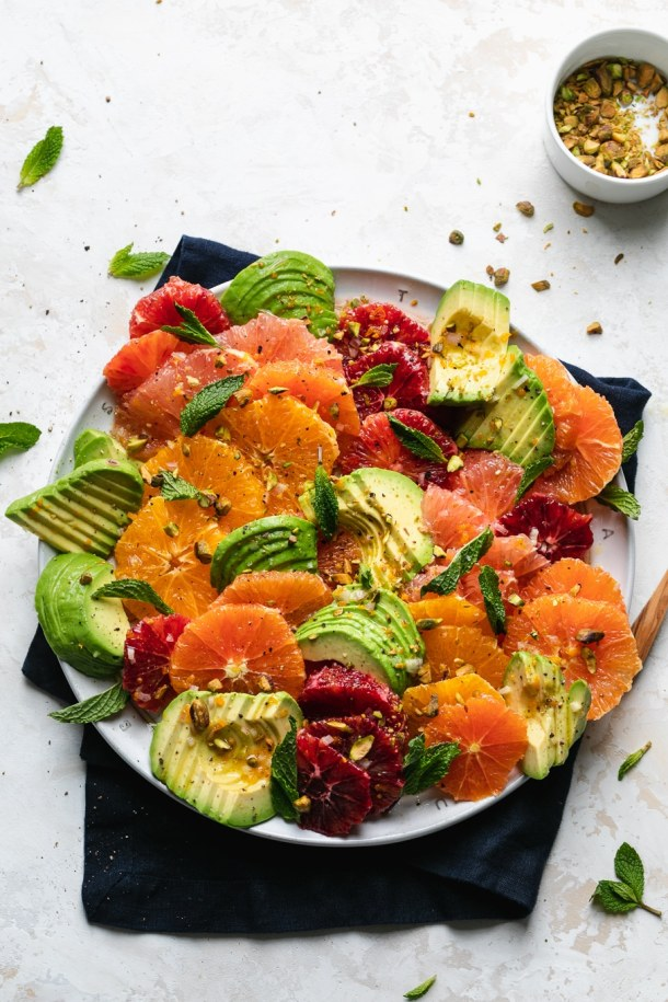 Overhead shot of a colorful citrus avocado salad