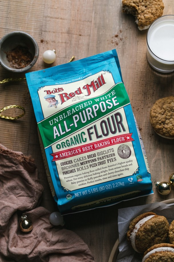 Overhead shot of a bag of flour