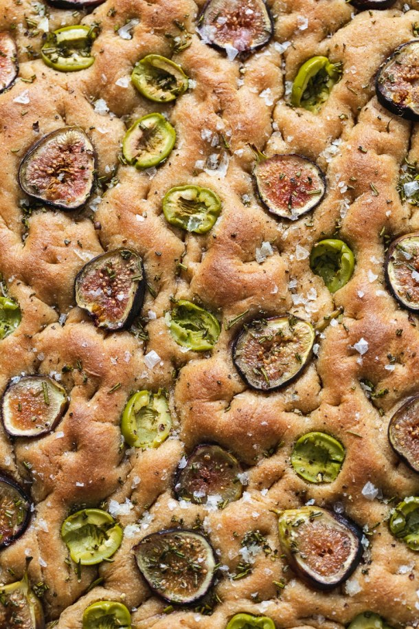 Super close up shot of a pan of baked focaccia