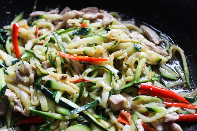 stir fried pork and zucchini