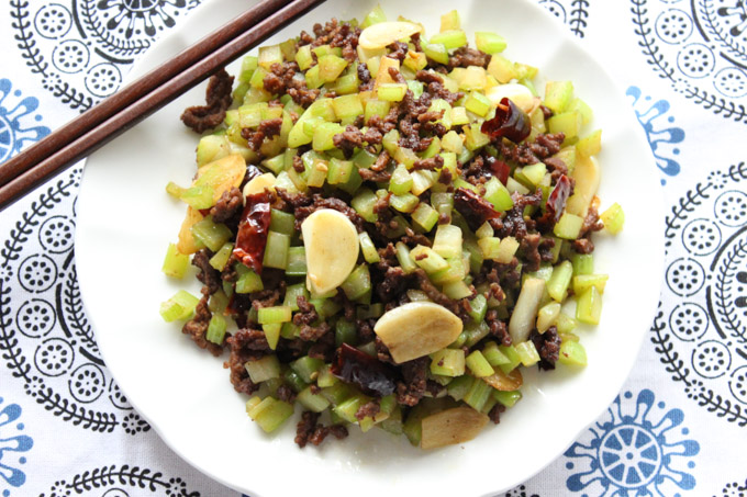 Tasty ground beef with celery