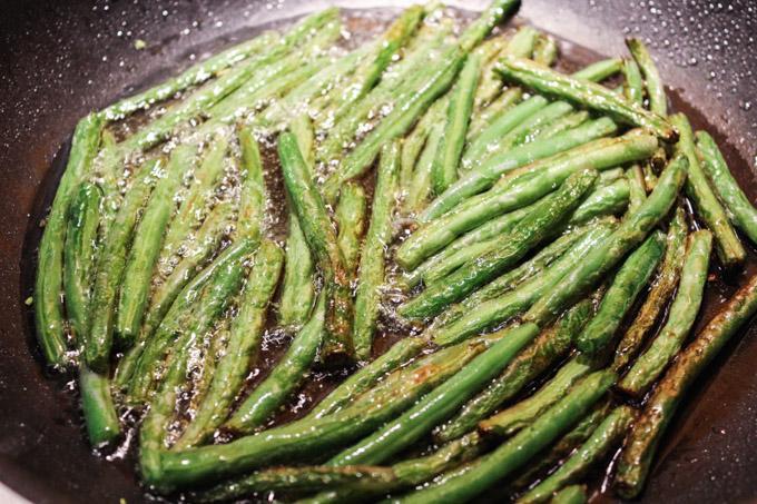 Deep fry green beans