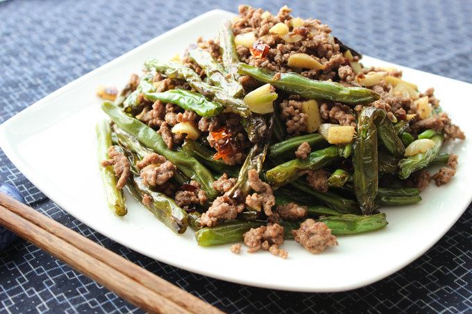 Spicy ground beef and green beans