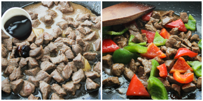 Cook the beef with peppers