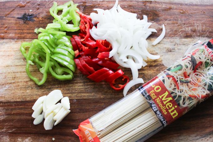 Beef Lo Mein Raw Ingredients