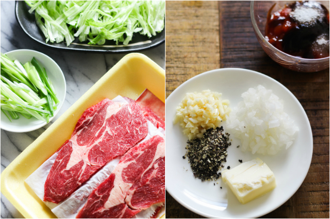 sliced-beef-over-lettuce-step-one