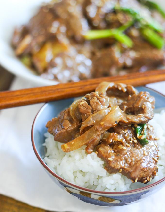 Mongolian beef stir fry in bowl
