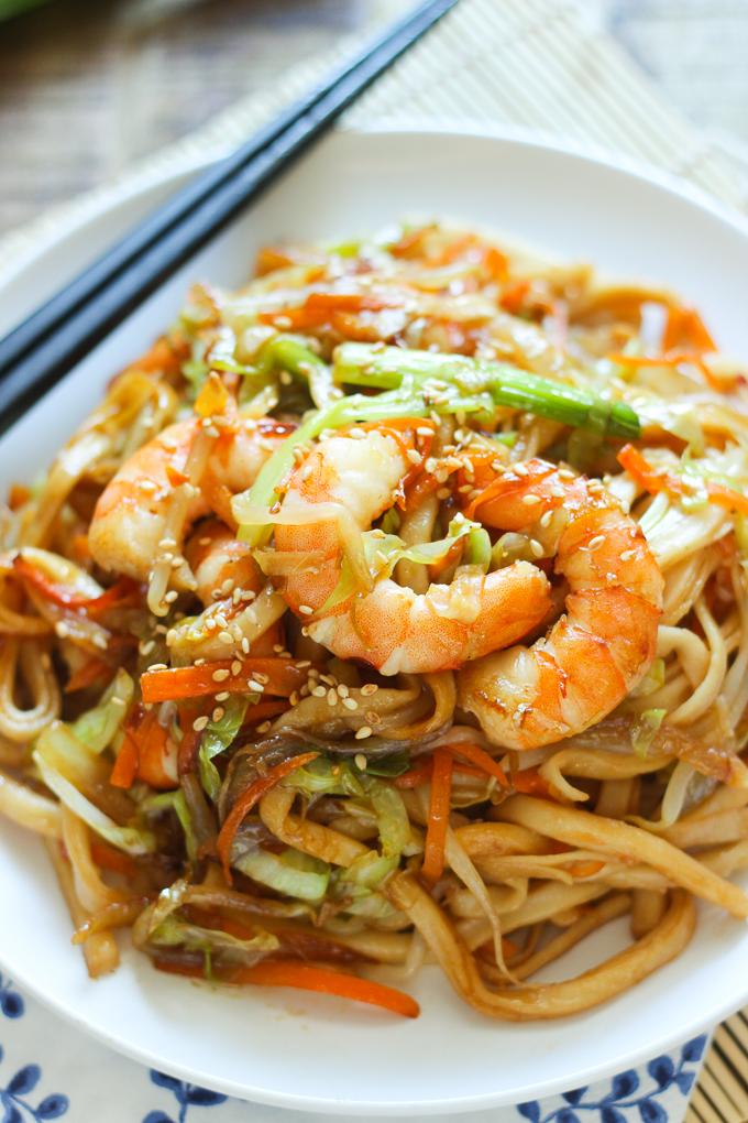 stir-fried udon with shrimp