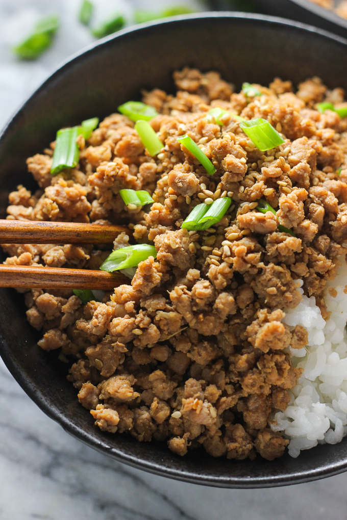 Ginger Minced Pork Rice Bowl Close Shot