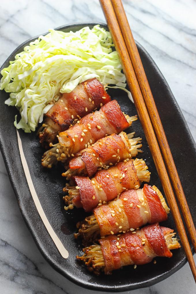 Bacon-Wrapped Enoki mushroom