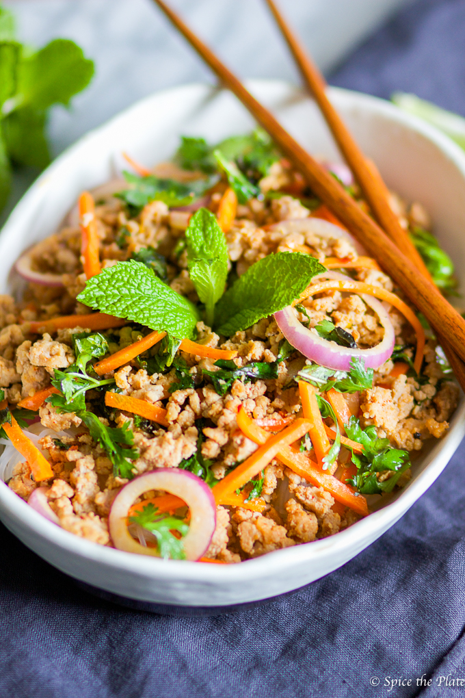 Thai minced pork over rice noodle larb spice the plate thai minced pork over rice noodle larb forumfinder Image collections