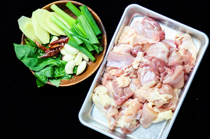 Taiwanese-Style Three Cup Chicken Prepared Ingredients