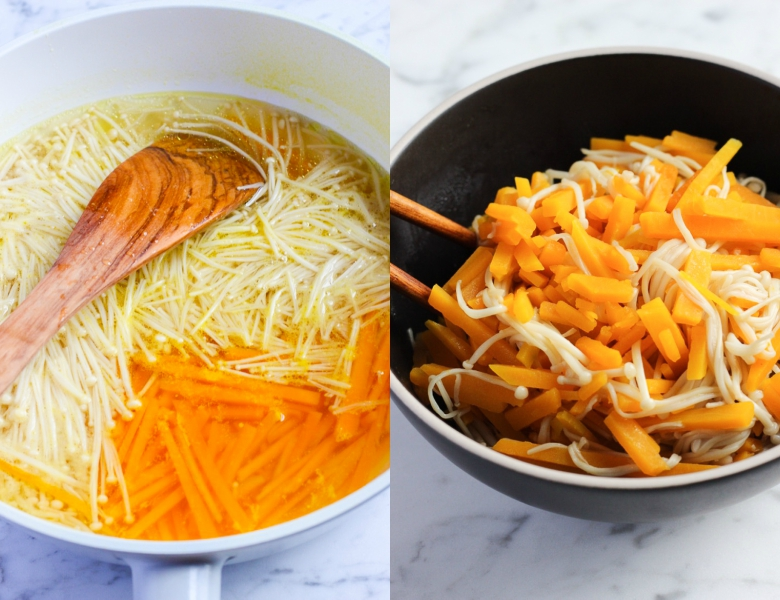 Pumpkin and Enoki Mushroom Salad