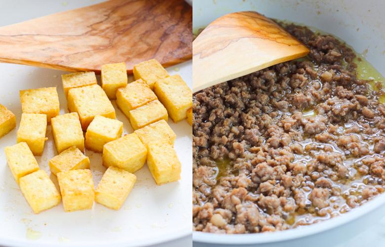 Green Bean and Tofu with Ground Pork Stir Fry-Step One