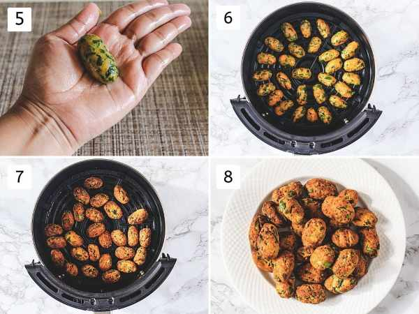 Collage of 4 steps showing shaping muthia, arranged in airfryer tray, cooked, removed to a plate.