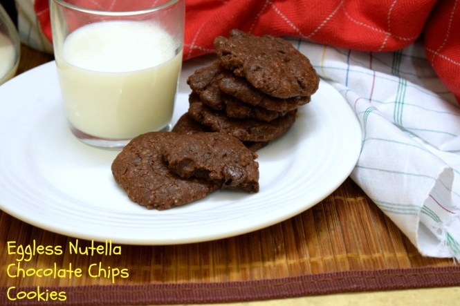 Eggless Nutella Chocolate Chip Cookies