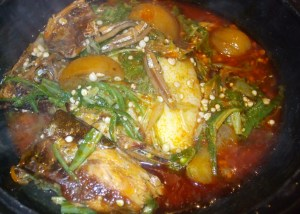 Akple with fetri toto [crushed okro soup]
