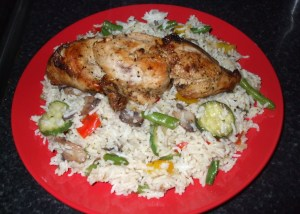 Italian style seasoned vegetable rice with chicken breast