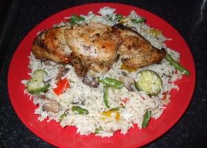 Italian style seasoned vegetable rice with chicken breast