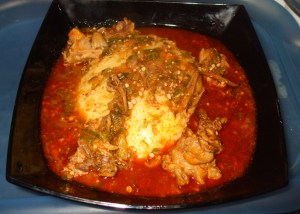 akple with chicken and anchovies okro soup