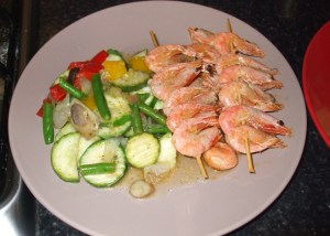 mixed vegetable stirfry with spicy prawns
