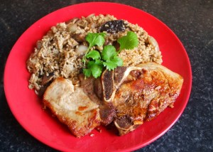 mushroom rice with pork chops