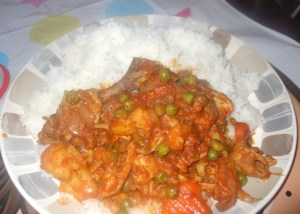 rice with chicken and vegetable stew
