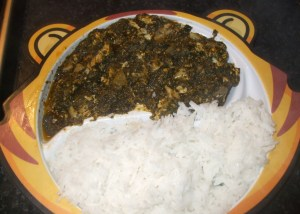 rice with egg and spinach stew