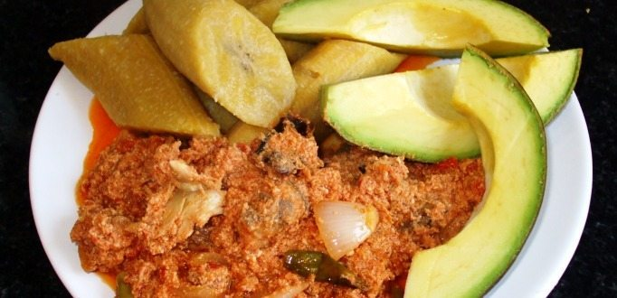 plantain with egushie stew and avocado