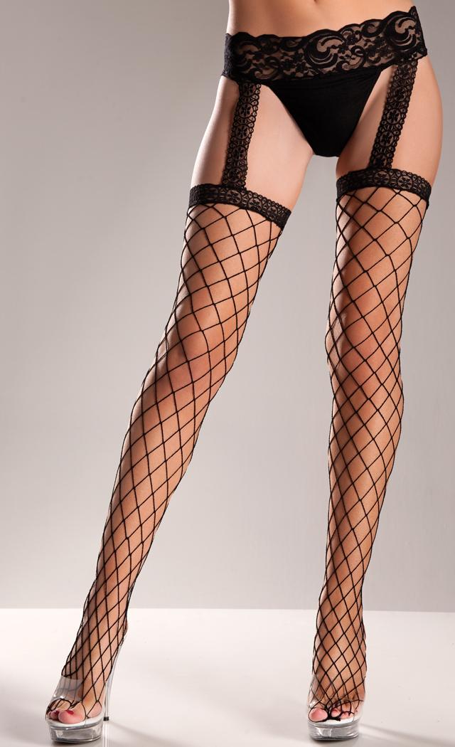 Fence Net Stockings With Lace Garter Belt  SpicyLegscom