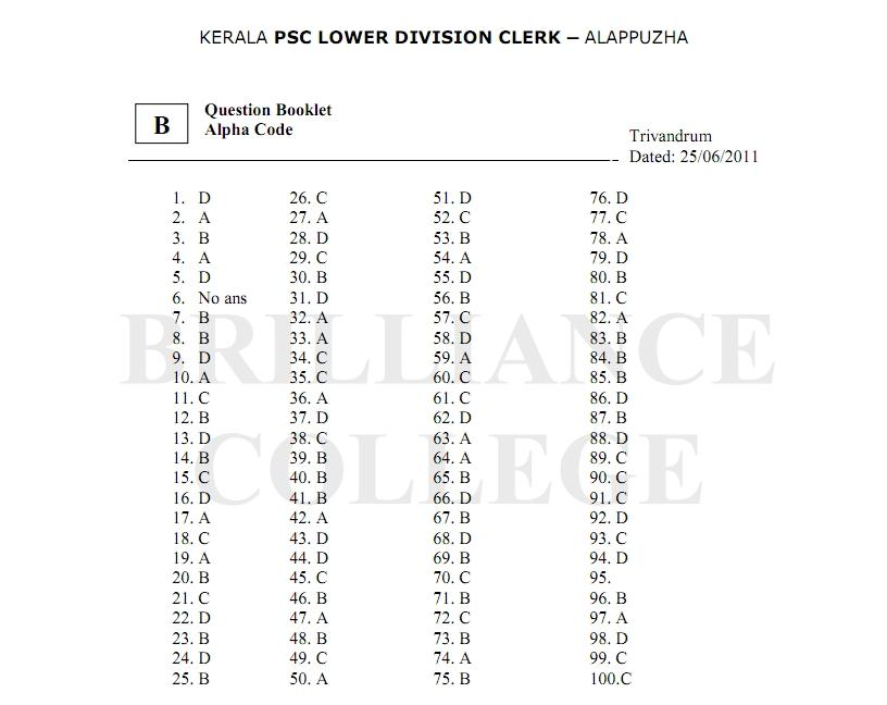 Kerala PSC LDC Alappuzha Answer Key and Solutions 2011