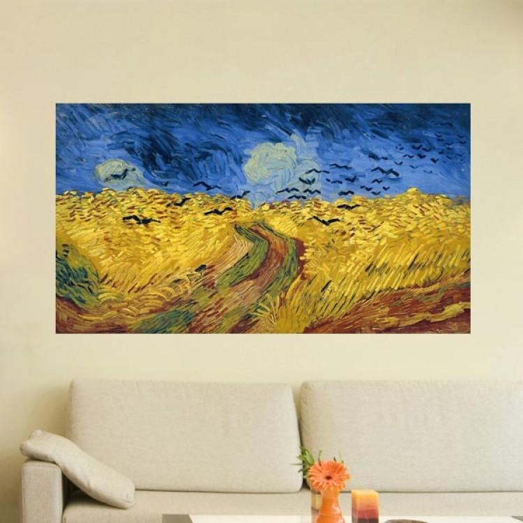Campo di grano con volo di corvi di van Gogh  Adesivo murale in tela artistica