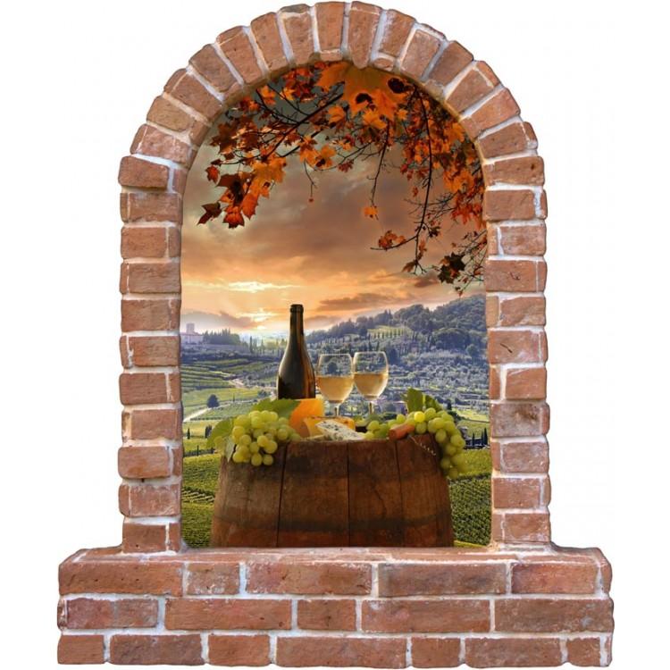 Arco mattoni sulla Toscana  Trompe loeil adesivo sagomato