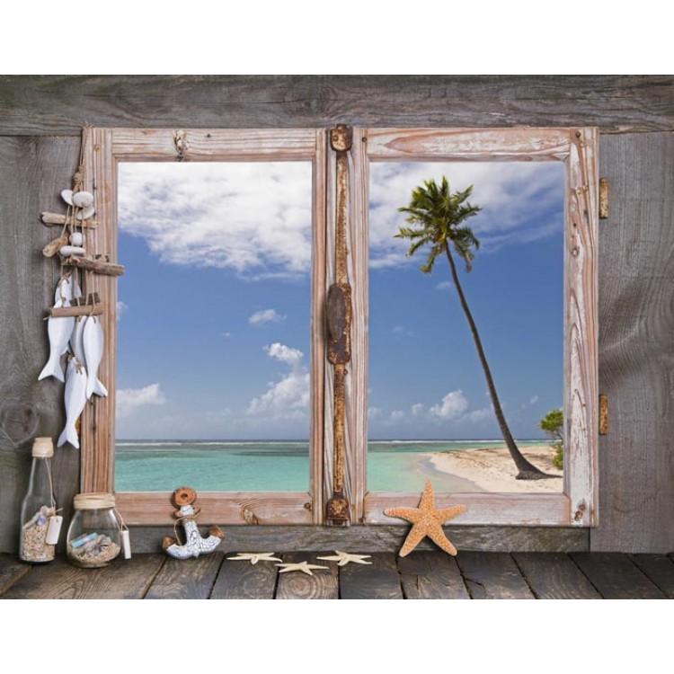Finestra su Spiaggia Esotica  Trompe lOeil sticker