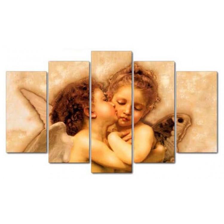 Quadro Amore e Psiche  Stampa su cinque pannelli in legno
