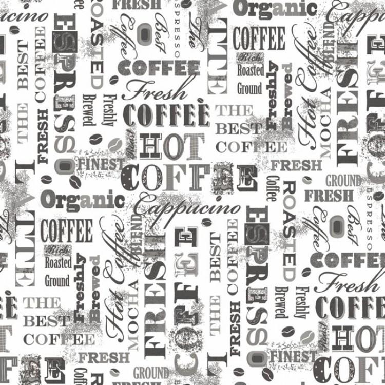 Caff Bianco e Nero  Carta da parati per cucina in marrone