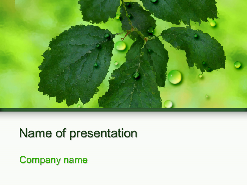 Download Free Green Leaf Powerpoint Template For Presentation