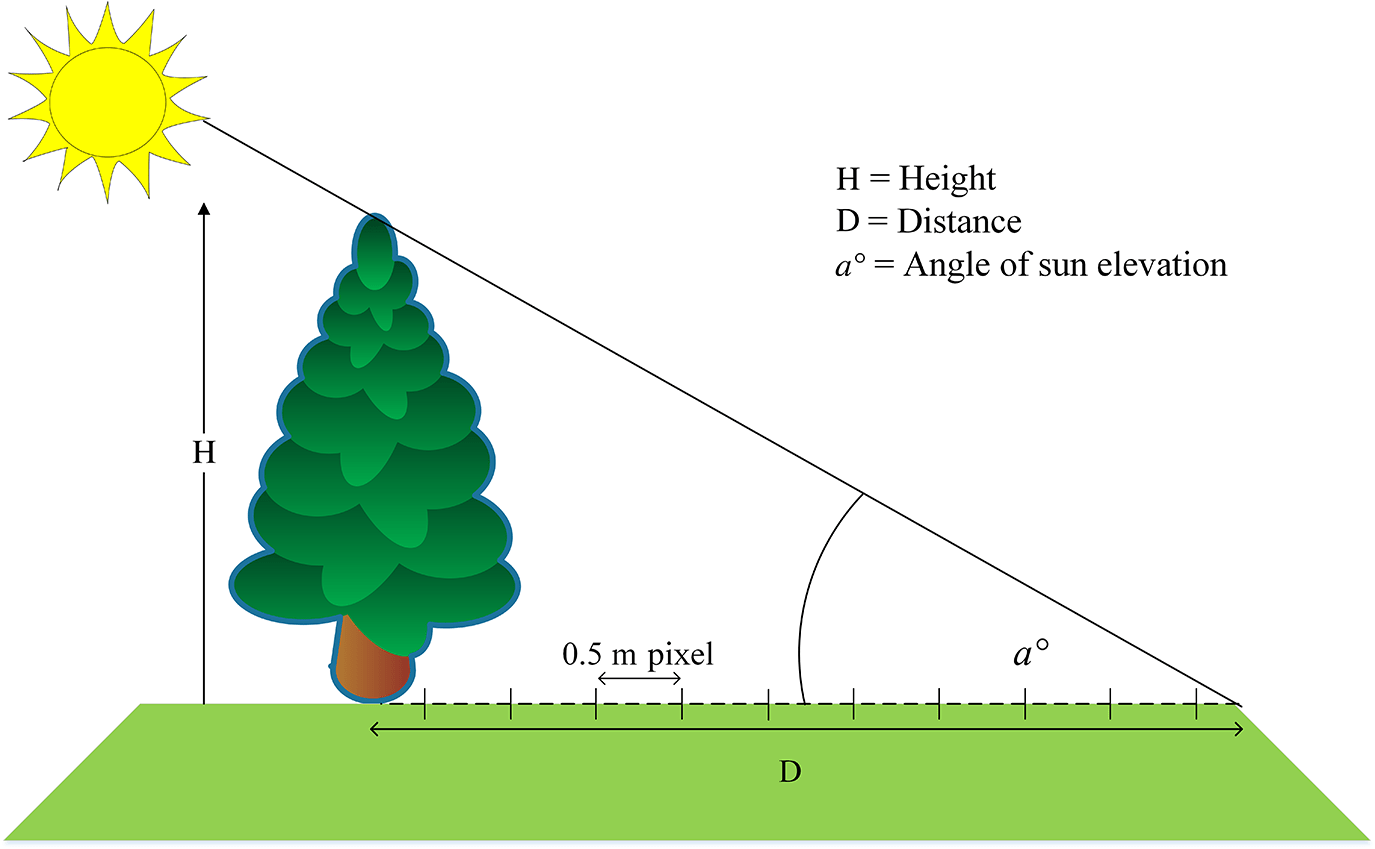 hight resolution of fig 3 schematic diagram delineating calculation of shadow