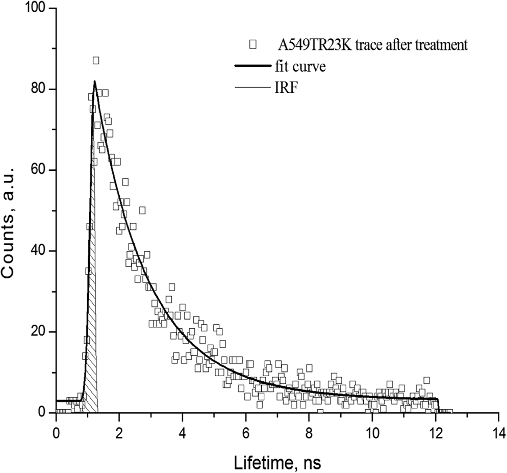 hight resolution of time trace in a549 tr23k xenograft after treatment with taxol calculated from the roi red of image from fig 8 b irf instrument response function