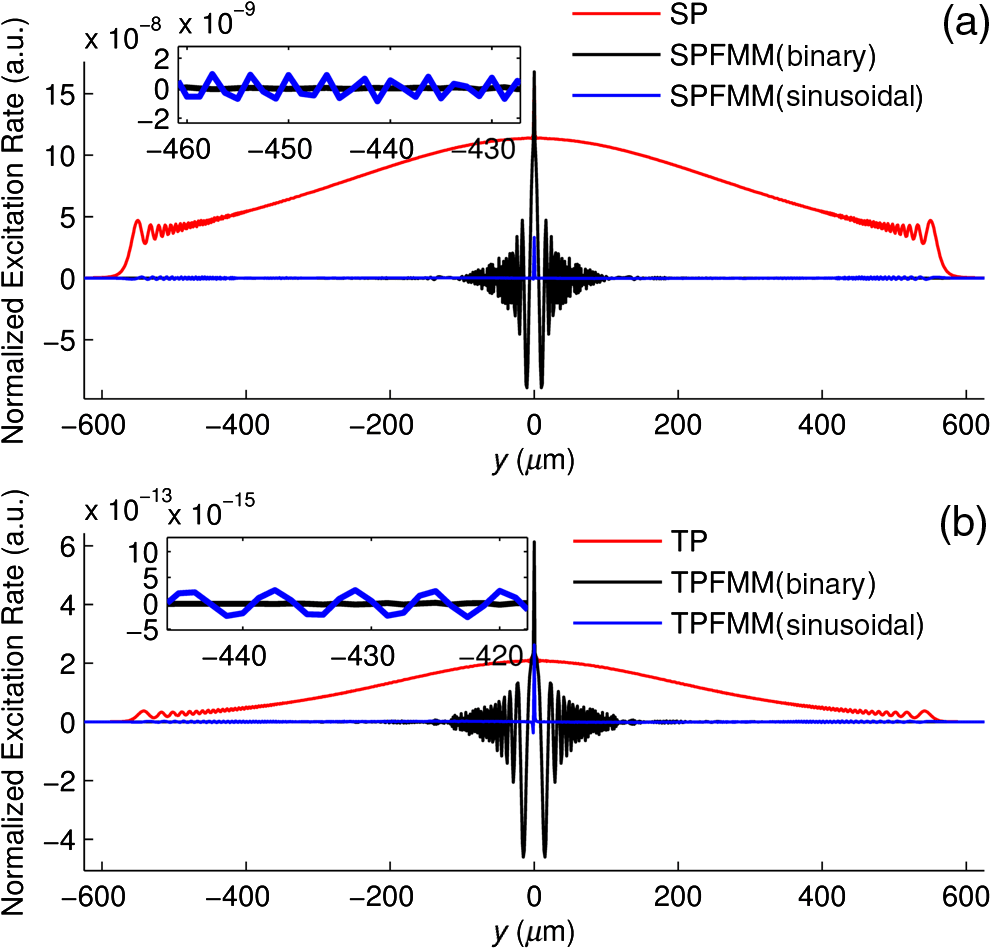 hight resolution of  immersion objective lens with na 1 0 na 1 0 and nobj 1 33 n obj 1 33 is used the zoom in insets show the details of the normalized excitation rate