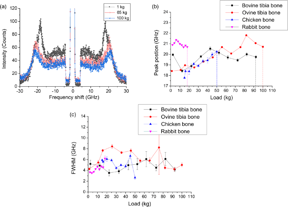 medium resolution of corresponding breaking limits are shown with vertical dashed lines and c fwhm obtained from the spectra as a function of compression load for bovine