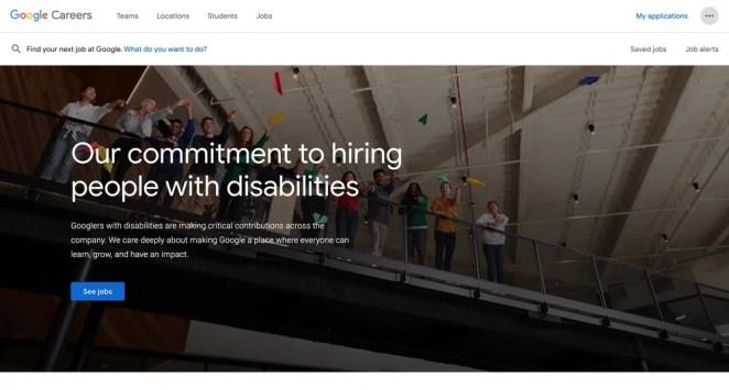 Google PwD Careers Page