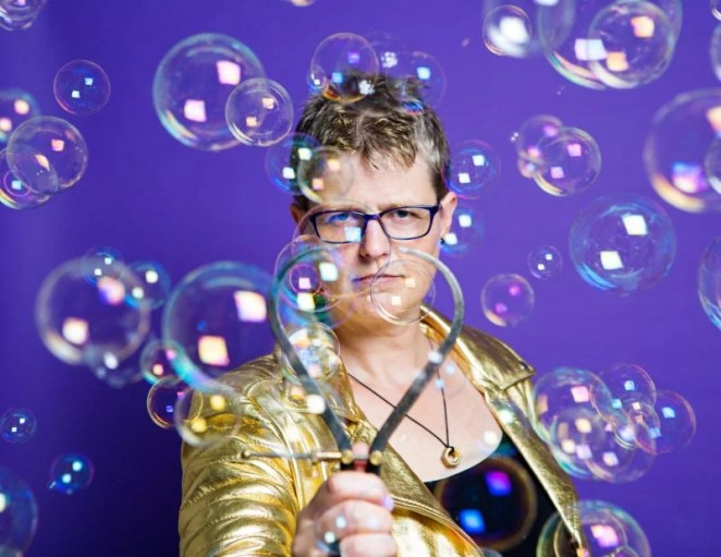 Dr Lucy Rogers, here shown with soap bubbles, will be our guest our This is Engineering Day–themed live stream for young people. Photo credit: Karla Gowlett