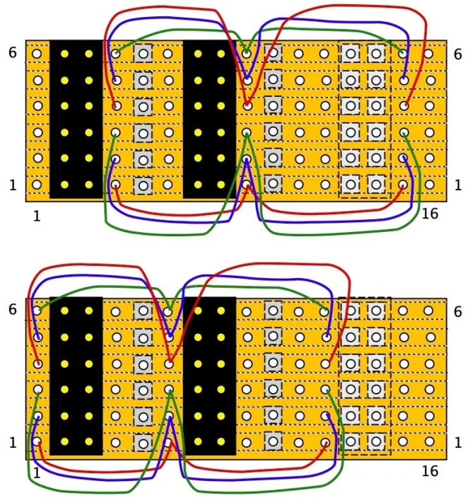 Wiring of GPIO extender shown in two stages