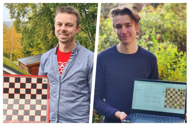 Ben Garside and Jonathan Alderson holding physical and virtual chess games