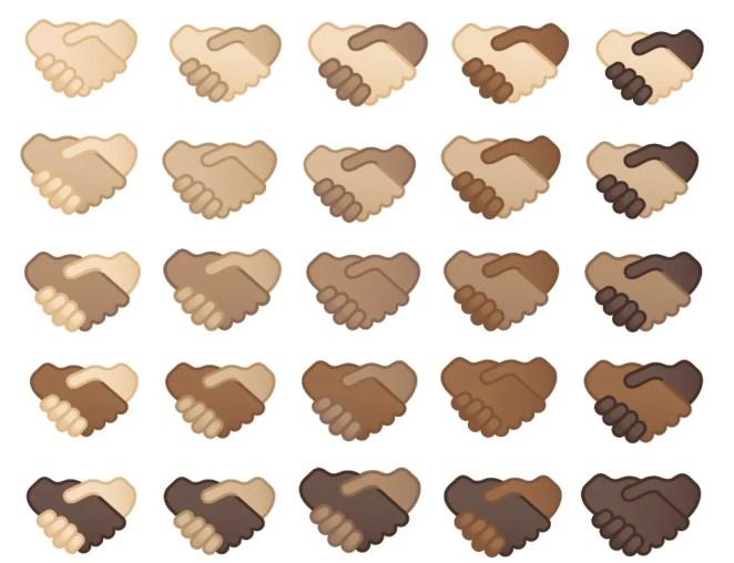 Image showing the handshake emoji in various skin tones and skin tone combinations.