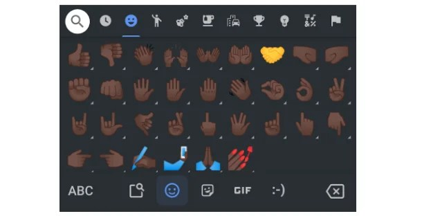 Image shows a texting keyboard with various hand emojis with the Black skin tone, except the handshake emoji, which is yellow only.