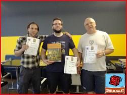"""Spieleliga """"Agricola"""" - 1. Platz: Dennis Rappel, 2. Platz: Daniel Stengg, 3. Platz: Hans Mostböck"""
