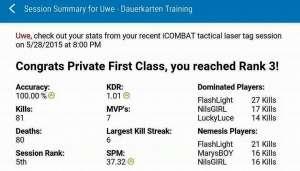 Lasertag Statistiken per Mail